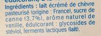 Yaourt au lait de chèvre vanille (0 % MG) - Ingredients - fr