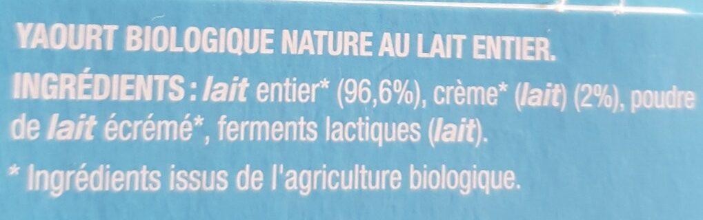Notre yaourt nature - Ingrédients - fr