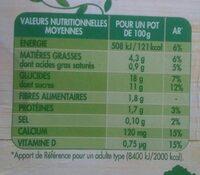 Dessert végétal noisette à l'avoine 4x100g - Informations nutritionnelles - fr
