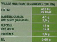Nos brassés mangue et ananas - Nutrition facts