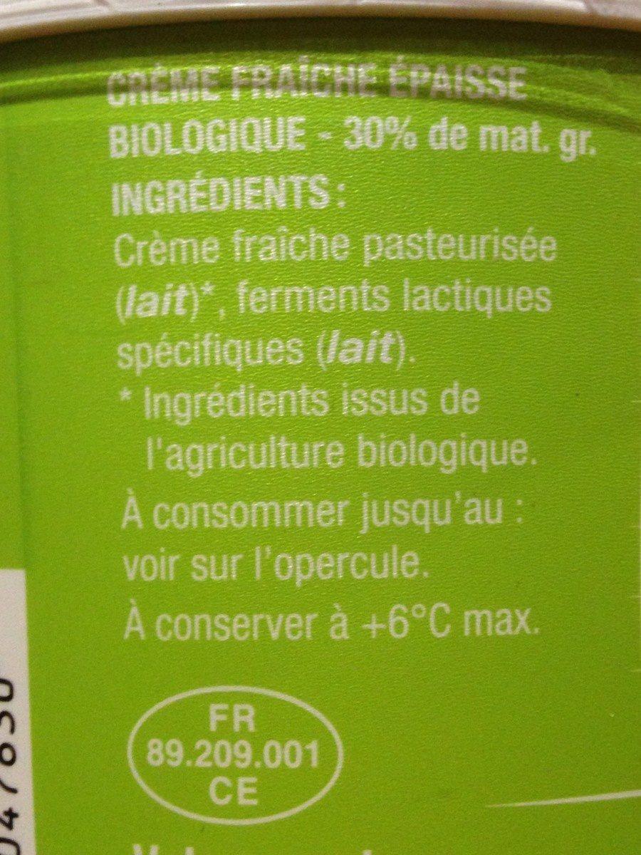 Crème fraiche entière - Ingredients