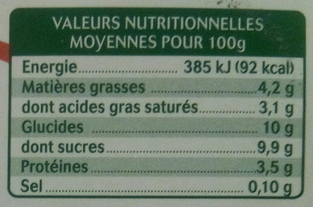 Brassé au lait de chèvre fraise fruits mixés - Informations nutritionnelles