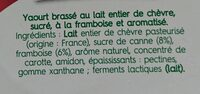 Brassé Framboise au lait de chèvre - Ingredients - fr