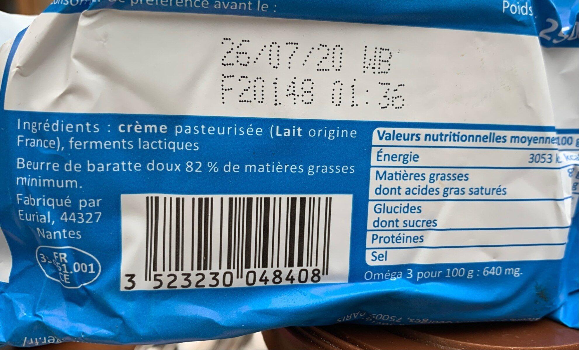 Beurre de Baratte Bleu-Blanc-Coeur - Nutrition facts - fr