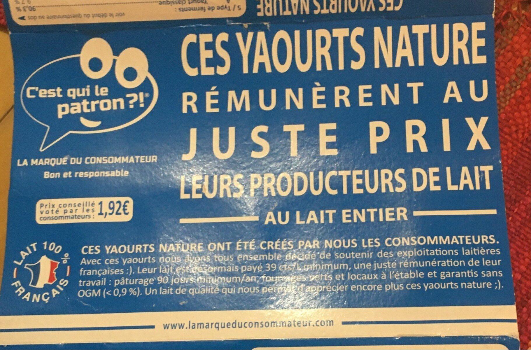 Yaourts nature au lait entier C'est qui le Patron ?! - Product - fr
