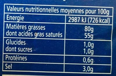 Beurre au Sel de mer de noirmoutier - Voedigswaarden