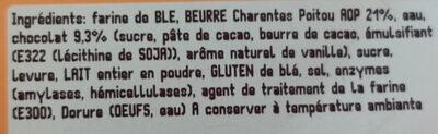 Pain chocolat ×4 au beurre aop - Ingrédients
