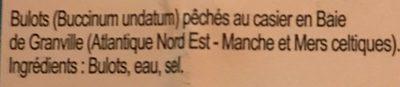 Bulots de la baie de Granville cuits - Ingredients
