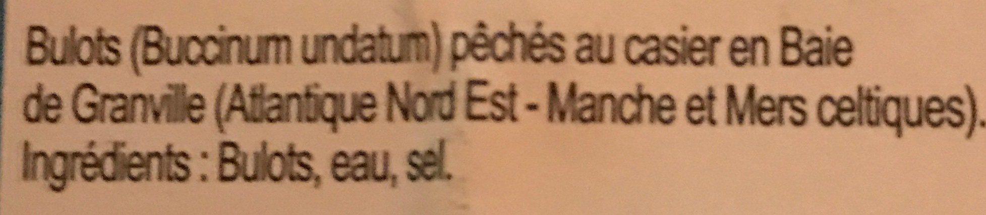 Bulots de la baie de Granville cuits - Ingrédients - fr