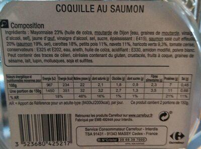 Coquille au saumon - Nutrition facts