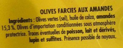 Olives aux amandes farcies doux - Ingrediënten