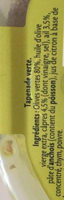 Tapenade verte ail - Ingredients