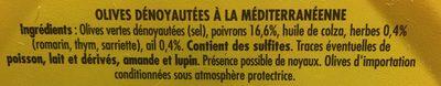 Olives dénoyautées à la méditerranéenne, CROC'FRAIS, barquette - Ingrediënten - fr