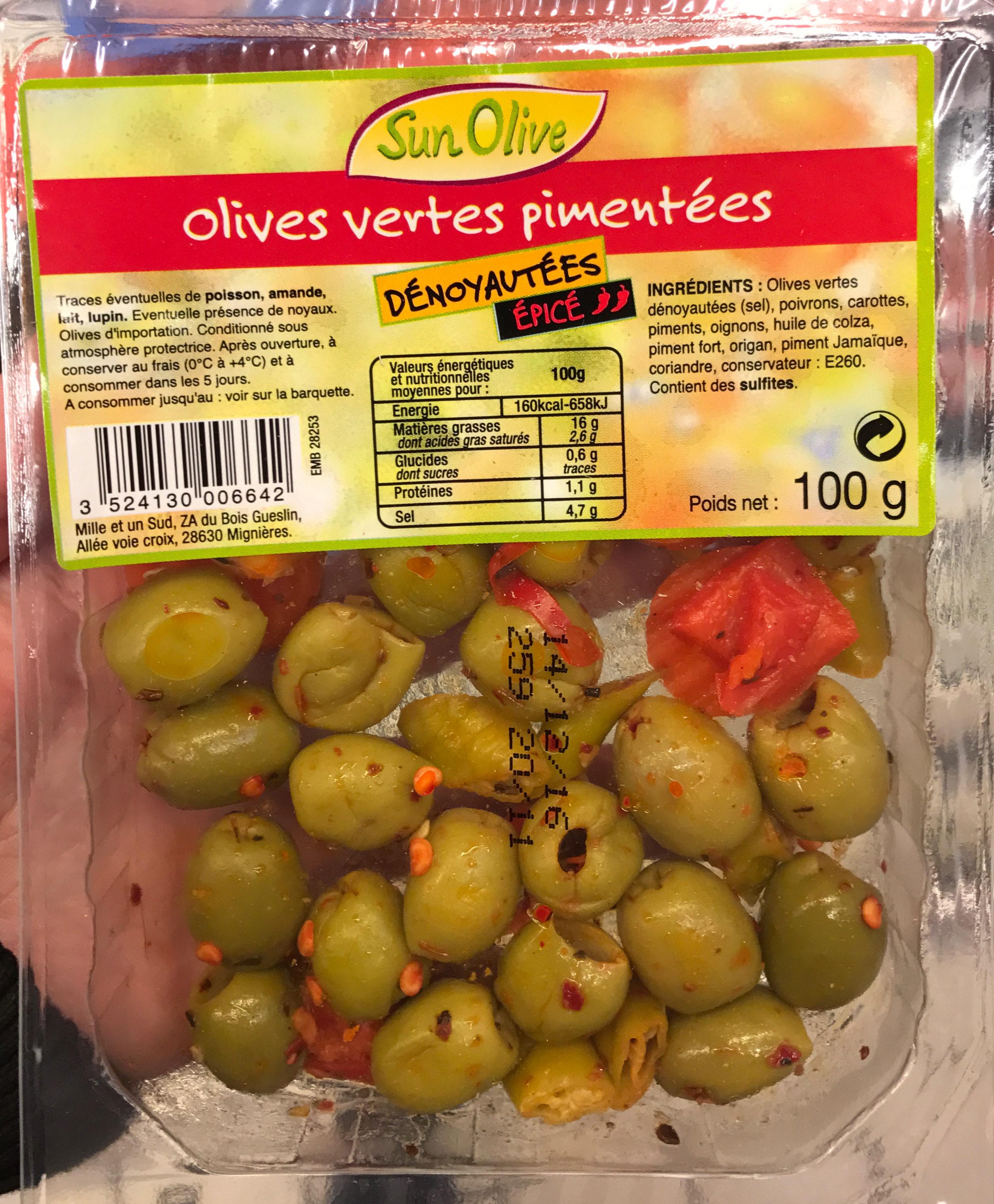 Olives vertes pimentées dénoyautées épicé - Produit - fr