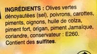 Olives vertes pimentées dénoyautées épicé - Ingrédients - fr