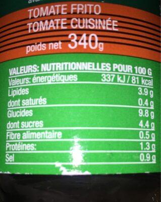 Tomate cuisinée bio - Informação nutricional - fr