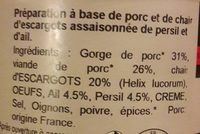 Frairine d'escargot à la persillade - Ingrédients - fr