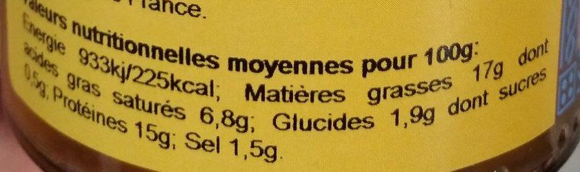 Frairine d'escargot à la persillade - Informations nutritionnelles - fr