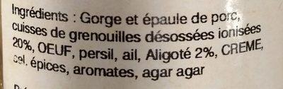 Frairine de cuisses de grenouilles à l'aligoté - Ingrédients - fr