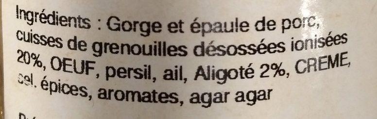 Frairine de cuisses de grenouilles à l'aligoté - Ingrédients