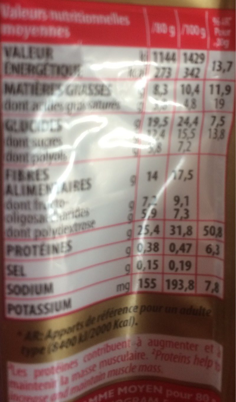Eric Favre Sport High Protein Barre 80 g - Saveur : Brownie - Nutrition facts