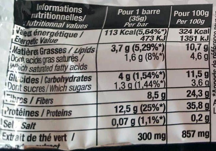 SLIMPROTEIN bar - Nutrition facts - fr