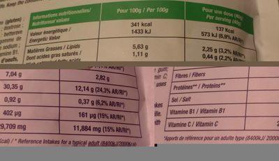 Pancakes vegan saveur myrtille - Nutrition facts - fr