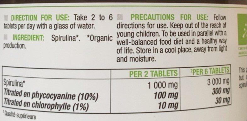 Spiruline - Informations nutritionnelles - fr