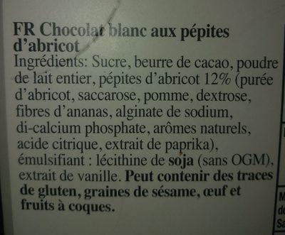Chocolat blanc et abricot - Ingrédients - fr
