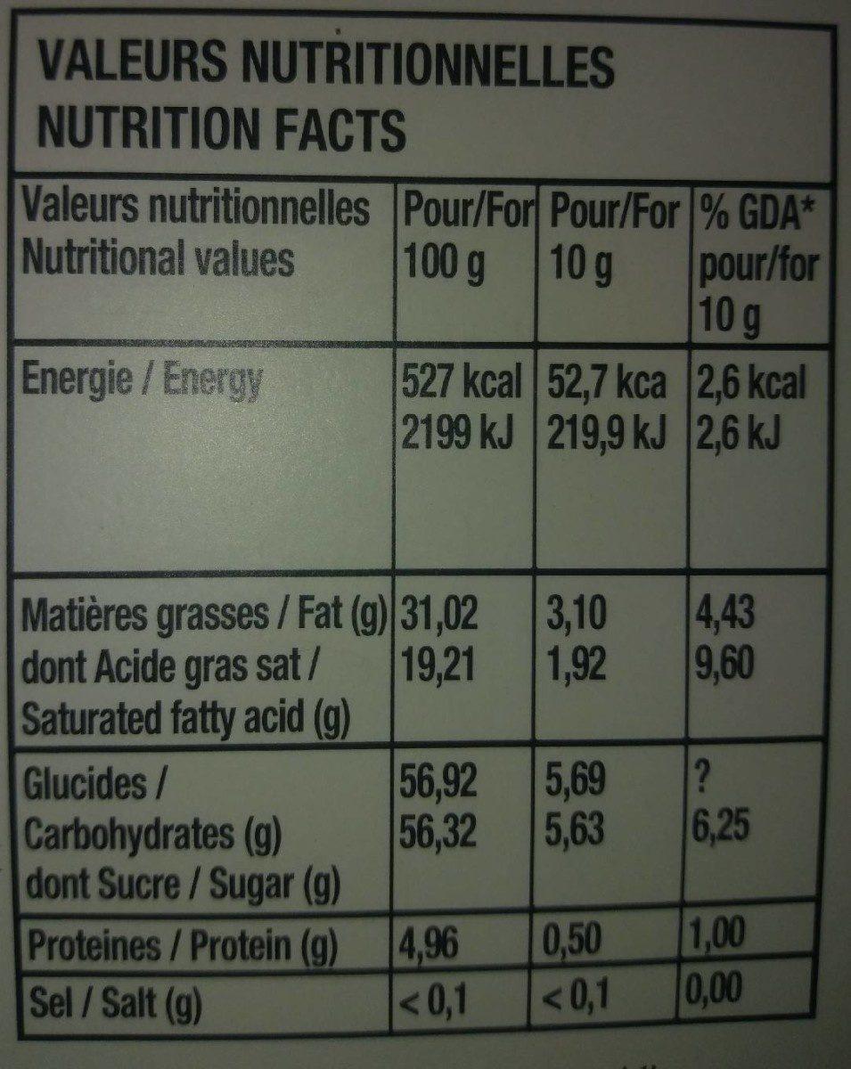 Chocolat blanc et abricot - Informations nutritionnelles - fr