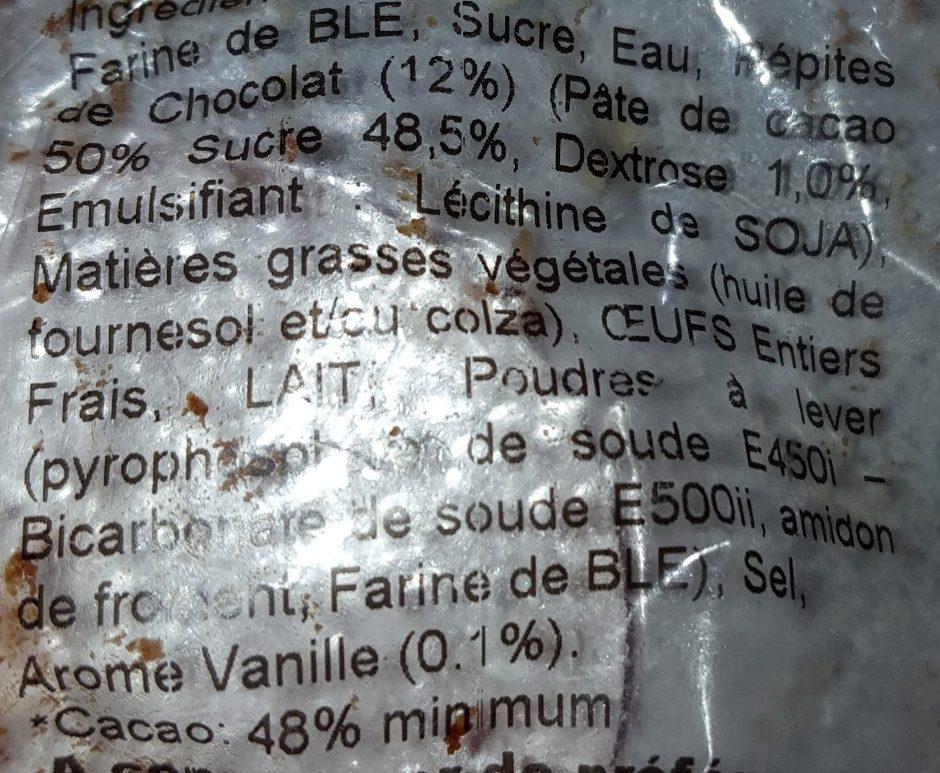 Muffin saveur Vanille Pépites de Chocolat - Ingrédients - fr