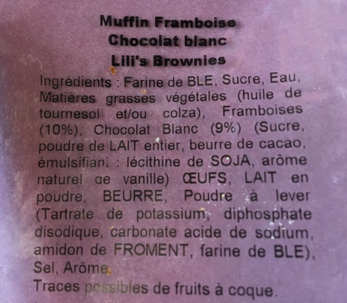 Rasberry white chocolate chunk muffin - Ingrédients - fr