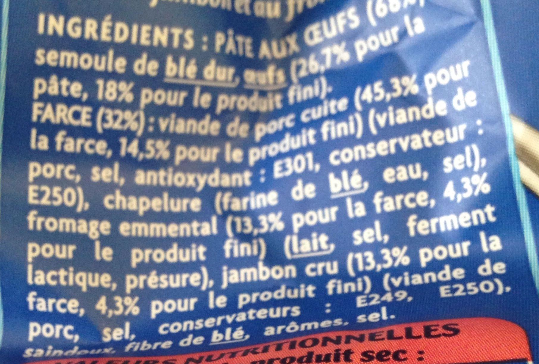 Raviolis jambon cru et fromage - Ingredients