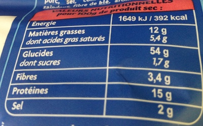 Raviolis jambon cru et fromage - Nutrition facts