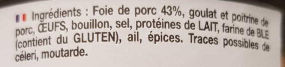 Pâté de foie de porc confit - Ingredients - fr