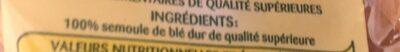 Penne Rigate - Ingrédients