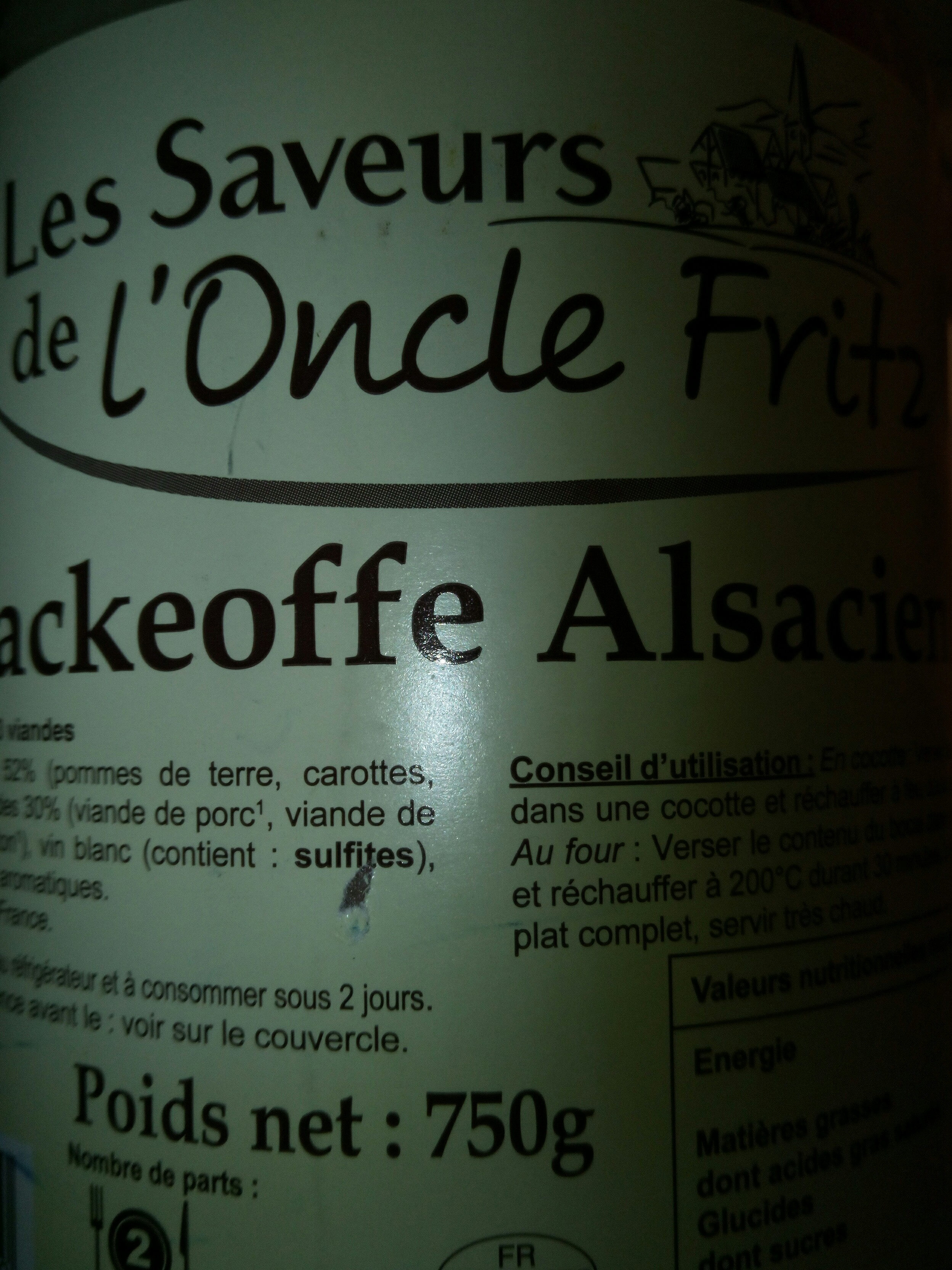 Backeoffe Alsacien - Produit