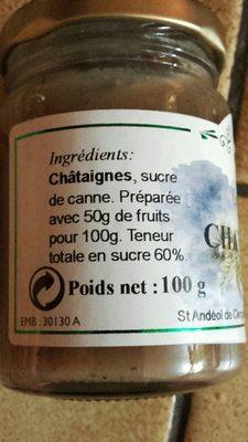 Confiture de chataigne - Ingredients