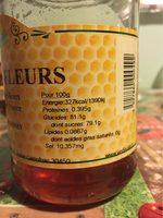 Miel de fleurs des Cevennes VERFEUILLE - Informations nutritionnelles - fr