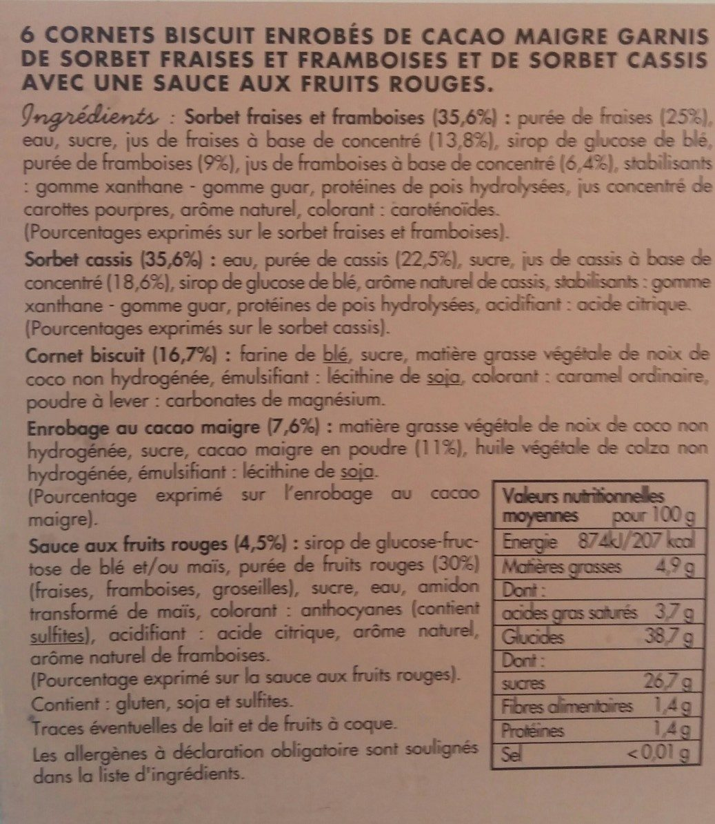 6 cônes fruits rouges - Ingrédients