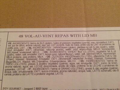 Pidy Vol-au-vent Repas With Lid, 9.5 CM - Pack Of - Ingredients