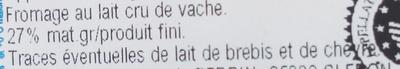 Morbier AOP (27 % MG) - Ingrédients - fr