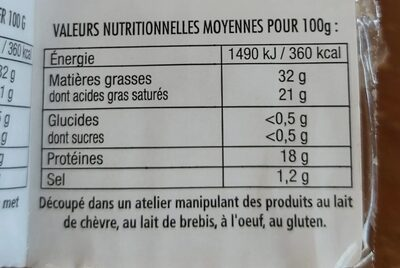 Tomme blanche - Informations nutritionnelles - fr