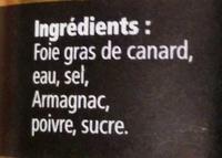 Le bloc de Foie Gras de Canard du Sud-Ouest - Ingrédients - fr