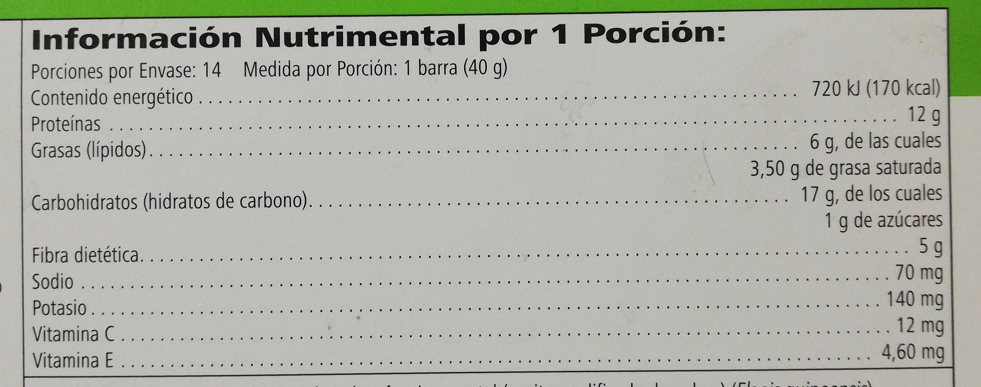 Barra con Proteína - Información nutricional