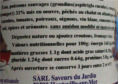 Soupe de poisson - Nutrition facts - fr