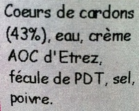 Velouté de cœurs de cardons - Ingrediënten