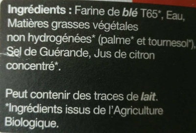 Pâte Brisée - Ingredients