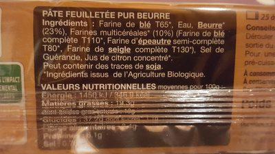 PATE FEUILLETÉE PUR BEURRE - Ingrédients - fr