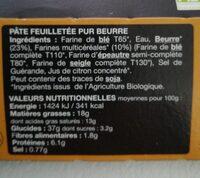 PATE FEUILLETÉE PUR BEURRE - Informations nutritionnelles - fr